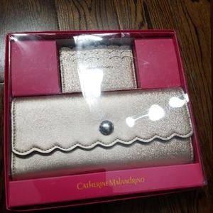 Catherine Malandrino New  gold wallet in box